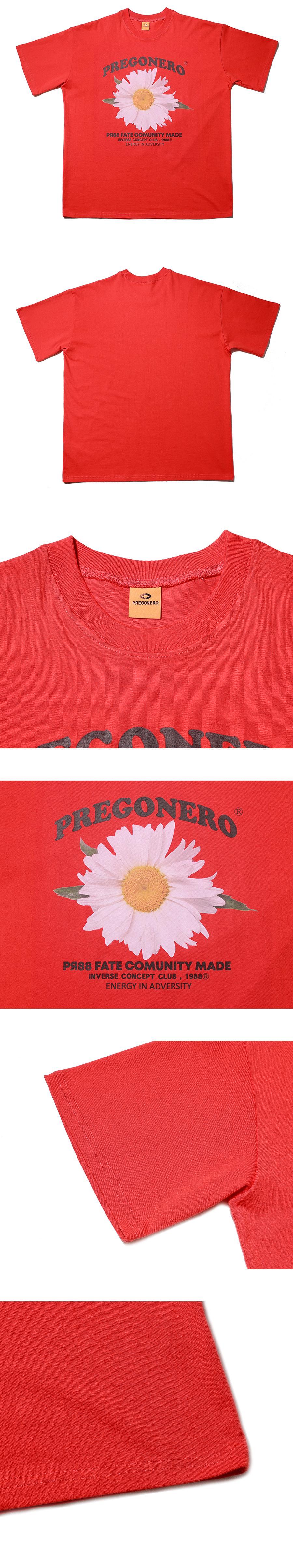 프리고네로(PREGONERO) 카모마일 플라워 시리즈 반팔티_레드